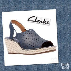 New Clark's navy sandals wedge shoes petrina 11